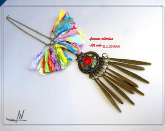 Multicolor textile necklace and bronze findings