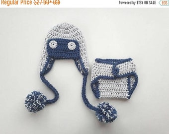 ON SALE 15% SALE Baby Crochet Aviator Outfit _Newborn Baby Boy Outfit_Aviator Baby Girl Hat and Diaper Cover_Photography Photo Prop Outfit