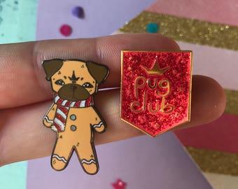 Gingerbread pug pins gift set, glitter pug pin, pug gift set, Pug Club lapel pin, pug, pug gift, pug brooch, pug pin, enamel pin, glitter pi