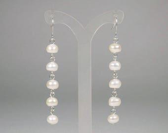 White Freshwater Pearl Earrings - Pearl Dangle - White Pearl Earrings - Pearl Chain Earrings - Pearl Drop Earrings - Linear Earrings