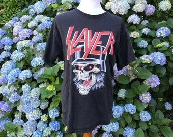 Slayer 90's Shirt // Large // XL // Black // Distressed // Skull // Metal // Band / / Tour // T-shirt