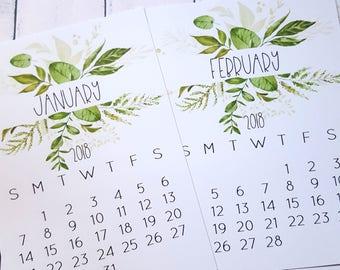 2018 Calendar Cards | Stocking Stuffer for Her | Botanical Desk Calendar | Green Foliage
