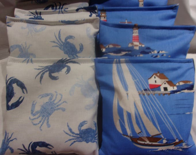 8 ACA Regulation Cornhole Bags - Ocean Blue Crabs and Sailboats with Lighthouses