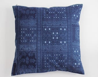 Boho Blue Navy Nautical VINTAGE HMONG Pillow Textile Ethnic Natural Dyed Printed Indigo Lumbar Pillow Case