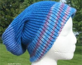 Alpaca Knit Hat in Blue