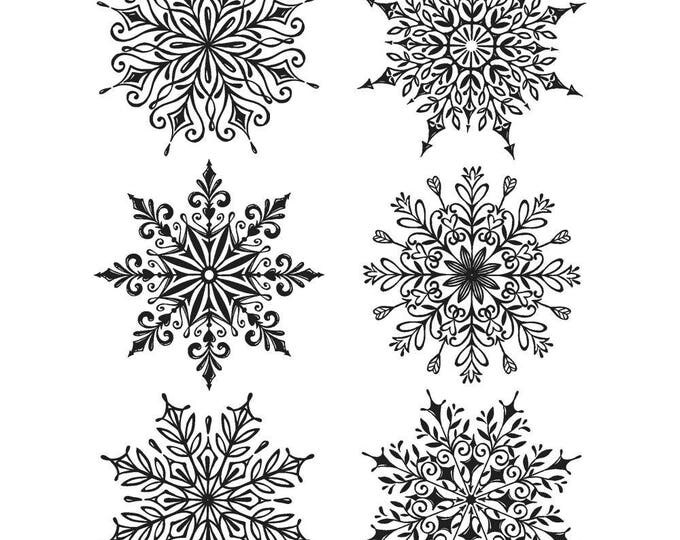 Tim Holtz SWIRLY SNOWFLAKES Holiday Cling-Mount Rubber Stamp Set by Stampers Anonymous CMS319