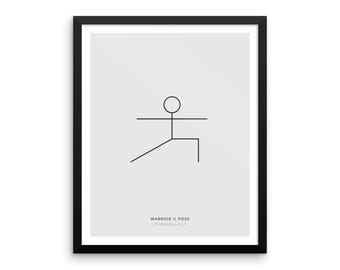 Yoga Pose Print: Warrior II Pose Print, Minimalist, Yoga Wall Decor, Health and Fitness Poster, Modern Minimal Art -  Physical Print