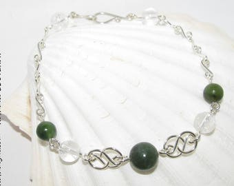 Rock crystal and Jade Nephrite on 935 sterling silver handmade by Nathalyne