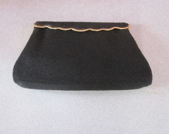 """1950s Black Glass Beaded Evening Bag by """"Josef, Hand Beaded in France"""""""