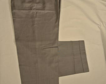 Zanella Duncan Light Gray Herringbone 100% Worsted Wool Dress Pleat Trousers Men's Size: 35x31