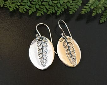 Fern earrings, drop earrings, plant earrings, plant lovers gift, gardeners gift, oval earrings, silver earrings, gift for mom, gift for her