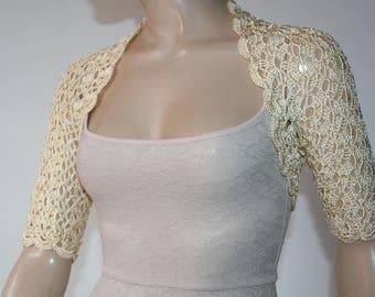 Champagne crochet shrug/ Wedding bolero shrug//Bolero jacket/Lace shrug/Bridal shoulders cover/Bridesmaids Cover up Bolero