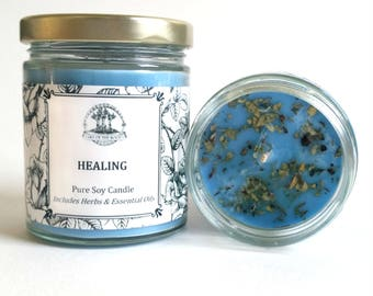 Healing Pure Soy Candle with Herbs & Essential Oils
