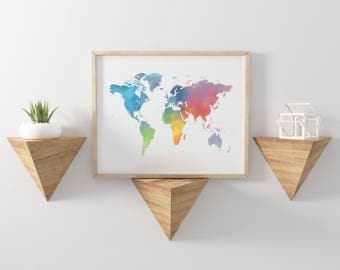 Colorful Watercolor World Map Print - Travel Decor - World Map Wall Art - World Map Poster - Office Decor - Colorful Map - Rainbow Map