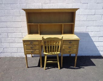 3PC Secretary Desk Hutch Chair Vanity Country French Shabby Chic Writing Table Laptop Stand Home Office Storage Entry Way CUSTOM PAINT AVAIL