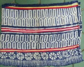 Hand woven Hmong hemp batik fabric natural indigo (H357)