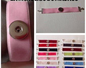 Bracelet Velvet Baby Pink for snap 18 to 20 mm (5 color)