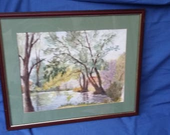 Vintage Watercolour 'Reflections Groombridge' Large Painting picture