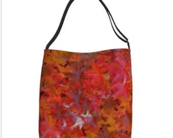 Tote Bag/Autumn Tote Bag/Market Bag/School Tote Bag/Red/Yellow/Fall Leaves Tote/Fall Tote Bag/Made to Order