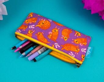 Armadillo Pencil Case, Armadillo Pen Bag, Cute Pouch, Charmadillo Pencilcase