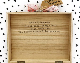 Baby girl wooden keepsake memory box- personalised with a message inside. A lovely christening, birthday, baby shower or new baby gift