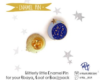 Bismillah Moon and Stars Hard Enamel Glitter Pin - Ramadan & Eid gifts