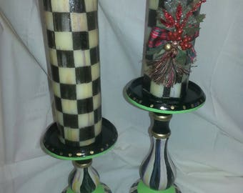 Black and white checked/ stripped candles and candlesticks