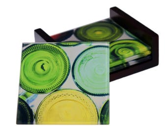 Wine Bottle Images- 4 Piece  Square Glass Coaster Set -  Wood Box Caddy Included