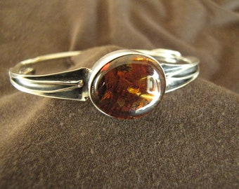 Sterling Silver Hinged Amber Bangle