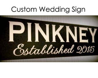 Personalized Wedding Established Sign, Mr and Mrs Sign, Wedding Date Sign, Wedding Gift, Bride and Groom, Last Name Sign, Choose Colors!