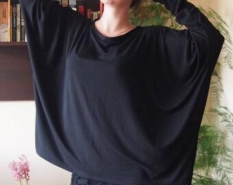 Black Loose Tunic,Over-sized Tunic, Long Sleeve Jersey Tunic, Women Tunic & Nara TT032