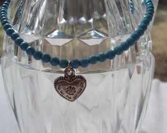 Turquoise Beaded Anklet with Heart Charm