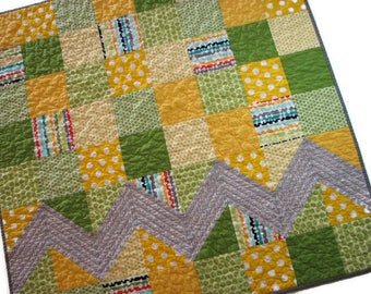 Modern Baby Quilt, Yellow and Green Patchwork Stroller Quilt, Chevron Car Seat Quilt, 34 in. x 34 in., Quiltsy Handmade