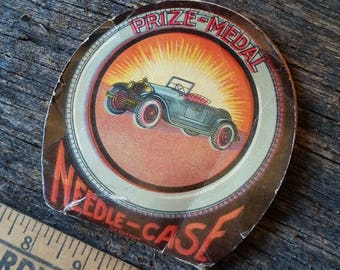 Antique Automobile 'PRIZE MEDAL' Sewing Needle Case Circa 1920's Germany