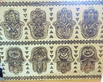 Hamsa woodburned pyrography decorated plaque