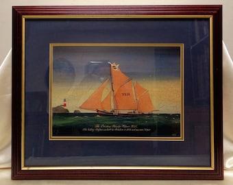 "Signed Matted & Framed Old ""Fulmar TE21"" (1856) The Brixham Traveler Seascape Print"