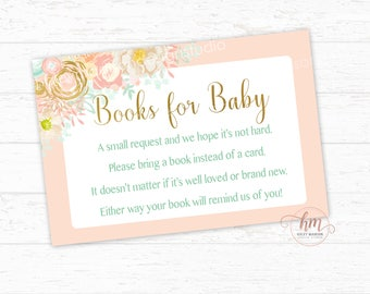 Floral Books for Baby cards, Floral Baby shower, Mint, Gold, Coral, Pink, Book Request cards, PRINTABLE FILE