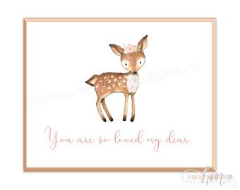 Woodland Nursery Print, Deer Nursery Print 8x10 DIGITAL FILE, Woodland Baby Shower print, Nursery art, Woodland boho whimsical art HM112