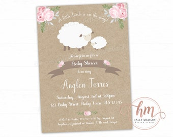 Pink Little Lamb Baby Shower Invitation, Floral Lamb baby Sprinkle, Little Lamb baby shower, Girl lamb baby shower, PRINTABLE FILE