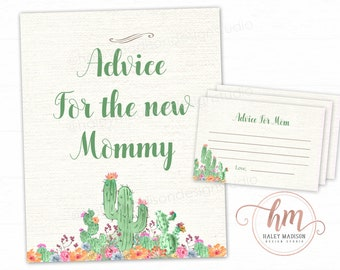 Succuletn Baby Shower Advice for mom cards, Advice for Mommy sign, succulents baby sprinkle, gender neutral baby shower PRINTABLE FILE HM444