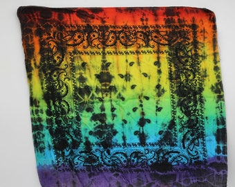 Tie Dye Bandana, Trippy Rainbow handkerchief, Hippie Fashion