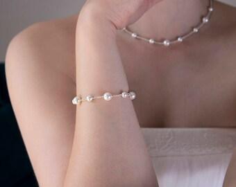 Swarovski pearl bridal bracelet, pearl bracelet bridal, handmade wedding bracelet - JULIET