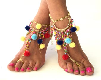 "Barefoot Sandals,""Mykonos"" Greek leather sandals, black Hippie Sandals, Foot Jewelry, Toe Thong, festival accessories for feet,"