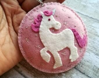 PRE ORDER for APRIL / Felt Unicorn ornament, Wool felt Horse ornament, Girls ornament, Unicorn Christmas gift