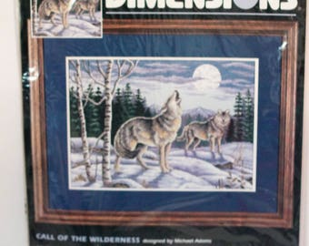 Dimensions counted cross stitch kit Call of The Wilderness #3842 sealed Vintage 1997