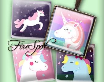 Dream Unicorn Unicorn head - Digital Collage Sheet 1.5inch,1 inch,25 mm,20 mm Square Instant Download.Glass Pendant.Bottlecaps,Scrapbooking