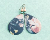 RESERVED FOR KATHY - Large Teardrop Vintage Tin Floral Earrings with Dusty Pink and Turquoise Colored Beads and Antique Copper, Large Earrin