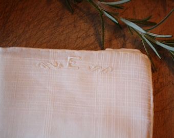 Vintage Embroidered Handkerchief 'E'