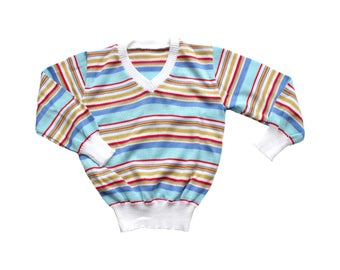 FRENCH VINTAGE 70/80's / for kids / striped sweater / V neck jumper / new old stock / size 8 years