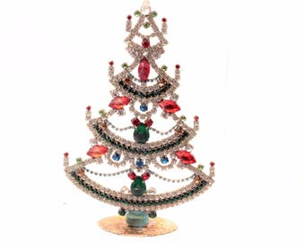 Free standing Czech glass rhinestone Christmas tree home decoration ornament